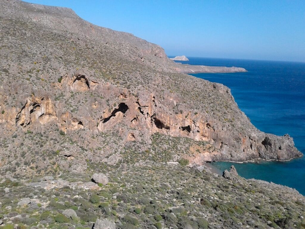 The bay of Agia Irini has besides its' beautiful beach also a potential to be a new climbing area of the east Crete. In the front there are overhanging walls with caves and on the right side is a blue sea.