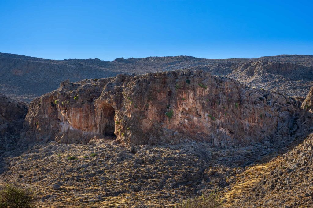 The Cave and East face of the Kato Zakros climbing area